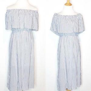 Alice + Olivia Blue/White Striped Midi Dress 0